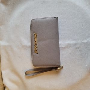 Betsy Johnson Gray/Gold Multi-Compartment Wallet